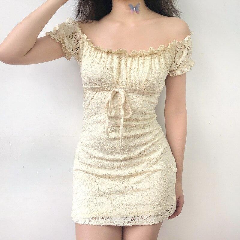 Summer dress 2020 vintage boho casual lace dress elegant mini sexy club bow tie tunic off shoulder ruffle dress vestidos 3