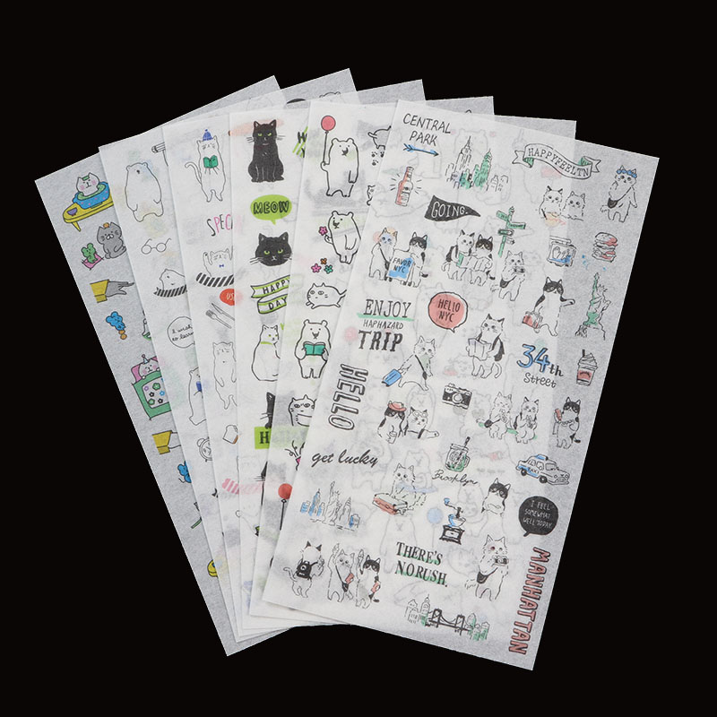 6 Bags, Cartoon Animal Transparent Stickers Diy Children's Stationery Diary Stationery Learning Daily Scrapbook Gift Set