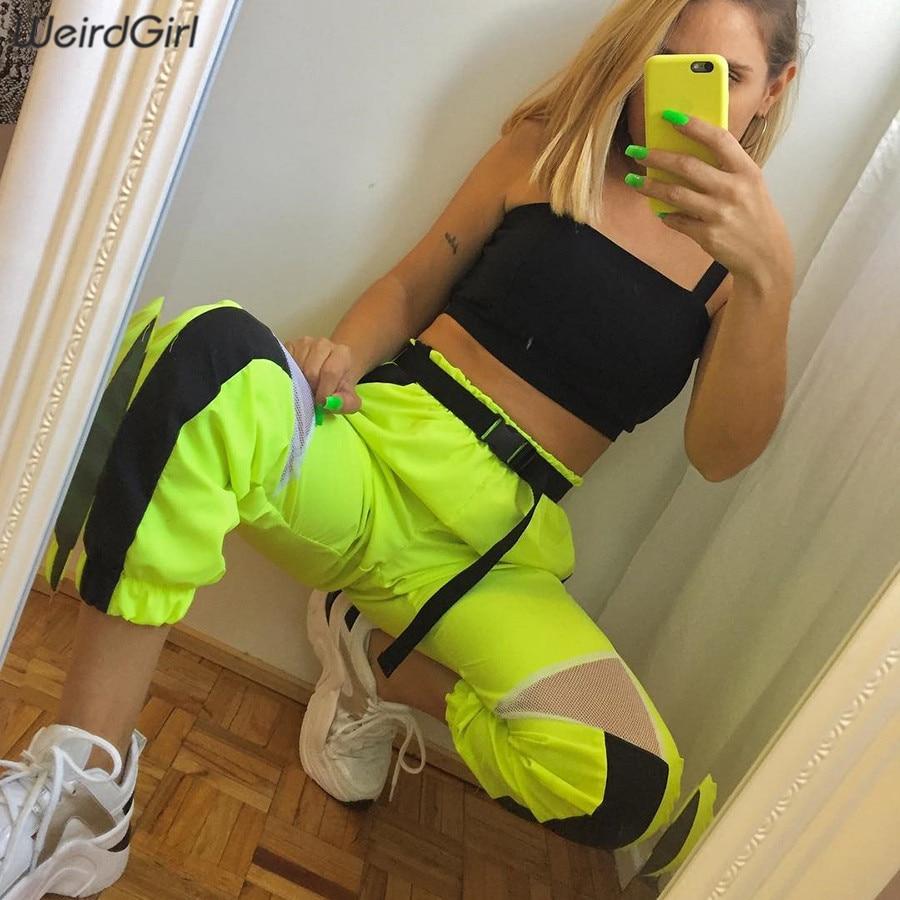 Weirdgirl Women Neon Green Casual Long Pants Fashion High Waist Harem Streetwear Femme Bottoms Lady Elastic Trousers Pockets New