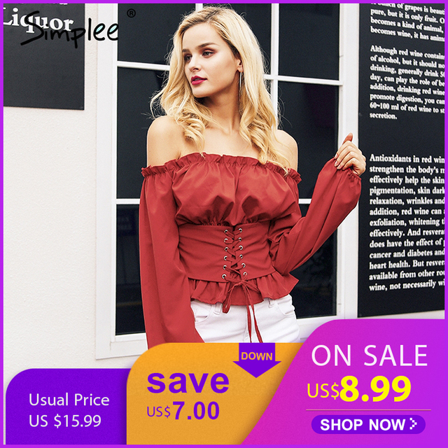e6bba6fb Simplee Off shoulder lace up sexy blouse shirt Women ruffle long sleeve  blouse tops 2018 Vintage