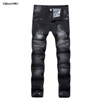 YiQuanYiMei casual Slim Moto & Biker ripped jeans for men jeans Fake Zippers skinny Hole biker jeans mens distressed jean Pants