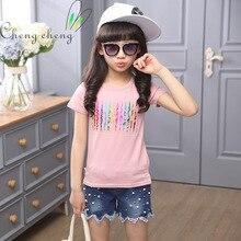 2016 new summer Kids Girls leisure cotton short sleeved T-shirt, children striped T-shirt bottoming shirt