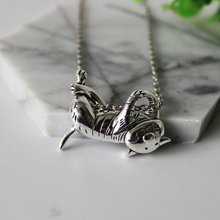 Silver Cute Cat Pendent Necklace
