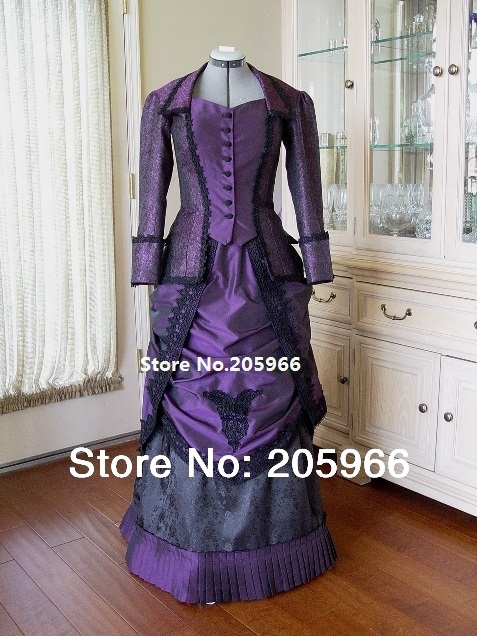 18th Century Victorian Dark Purple  Venice Lace Trimmed Bustle Day Dress Event Dress