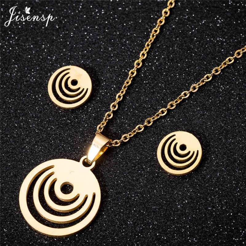 Jisensp Stainless Steel Round Pendant Necklace for Women Simple Long Chain Necklaces Gold Small Stud Earrings Set aretes brincos