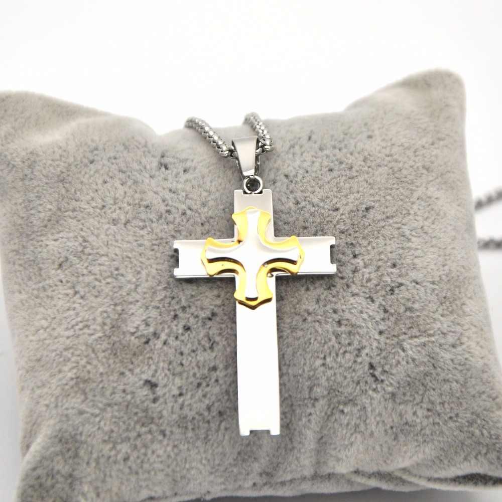 Krzyż naszyjnik dla mężczyzn bizantyjski złoty srebrny łańcuch ze stali nierdzewnej katolicki krucyfiks wisiorek mężczyzna Punk Rock ozdoby P050512