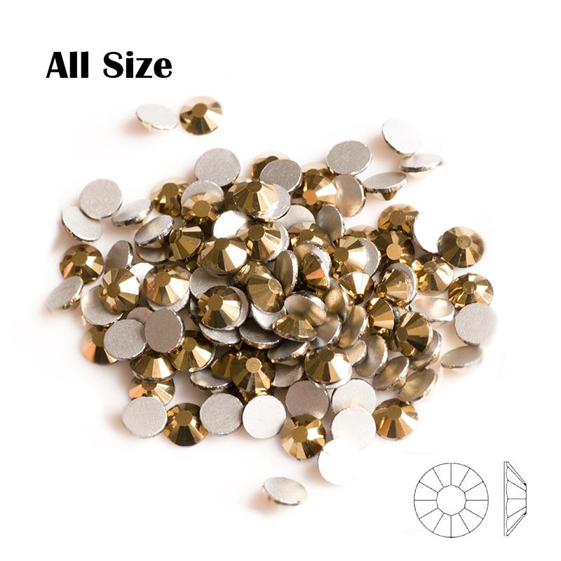 Yanruo 2058NoHF Aurum Všechny velikosti Krystaly bez opravy Kamenné drahokamy Flatback Strass Nail Art Zlato Nail Art Nehty Glitter Decoration