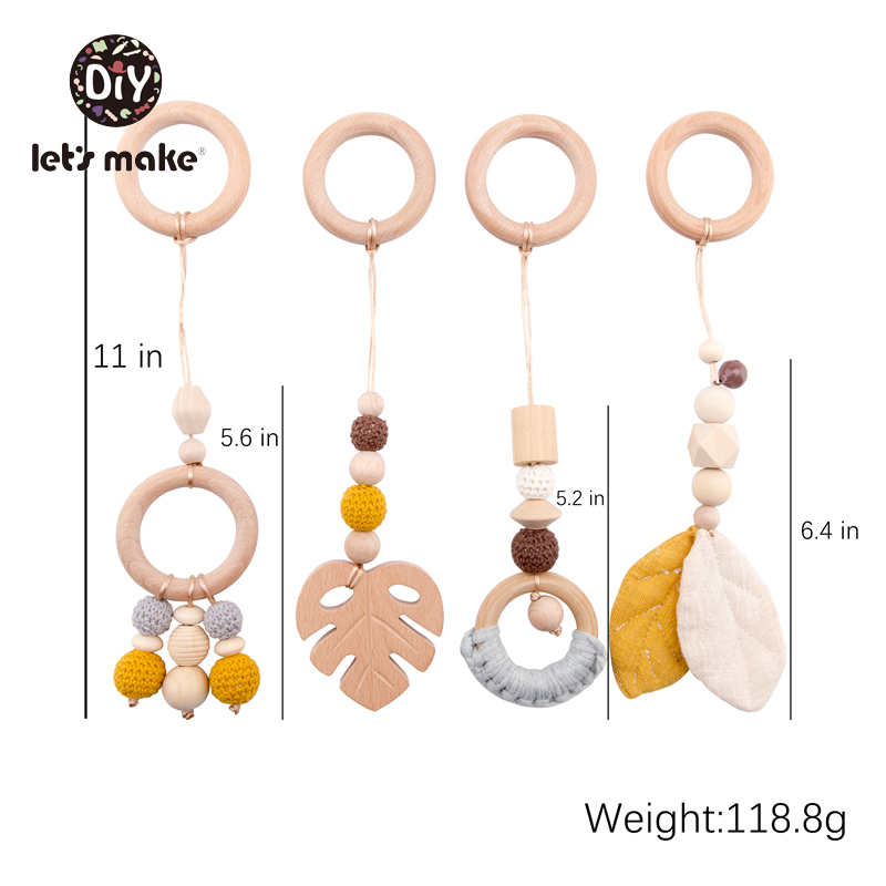 Let's Make Baby Toys 1set/4pcs Play Gym Wooden Beads Beech leaf Pendant Teething Nursing Stroller 0-12 Months Baby Rattle Toys | Happy Baby Mama
