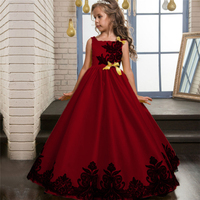 baby girl red Long Sleeve birthday party evening dress grils 2018 mesh belle Princess dresses kids frocks free shipping