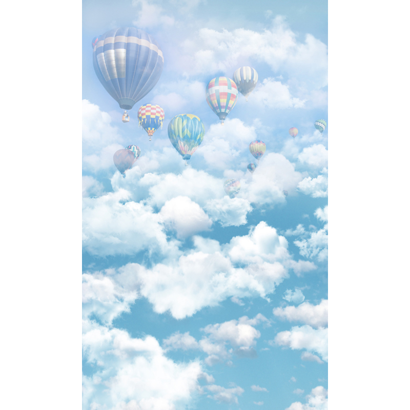 Seamless Vinyl Photography Background Blue Sky White Clouds Balloon Computer Printed Children Backdrops for Photo Studio ZH-8