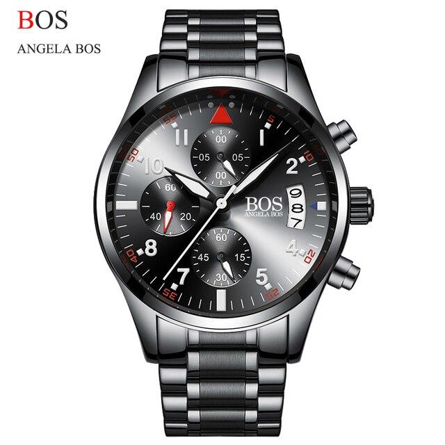 9c9d9856e43 Hot Mens Relógios Bos Angela Top Marca de Luxo Relógio de Quartzo Dos Homens  Relógio Do