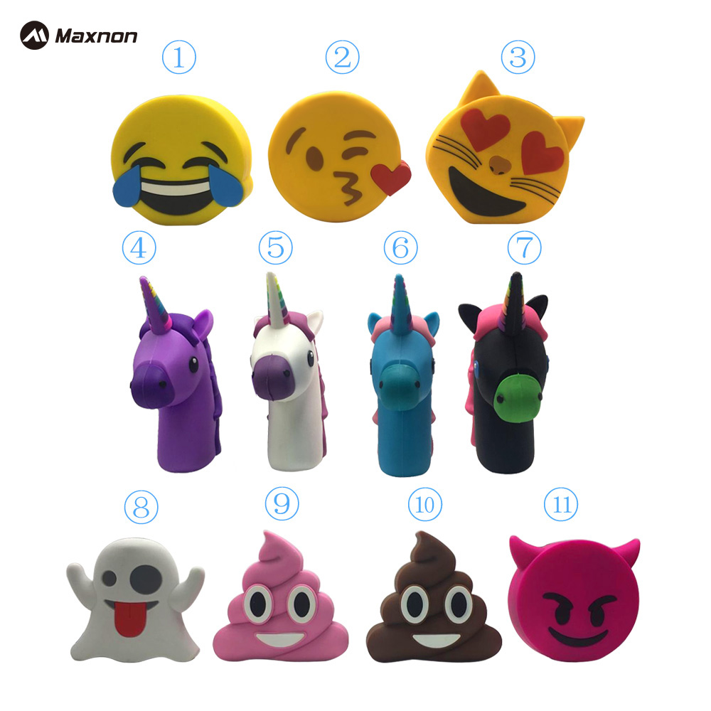 MAXNON 2000mah Unicorn Power Bank Cute Portable Emoji PowerBank Charger Cartoon USB Battery case Bateria For