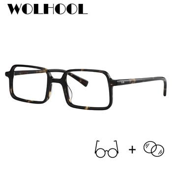 928e5e215b Gafas Retro cuadradas de acetato para hombre, lentes transparentes Vintage,  Anti rayos azules, gafas graduales de miopía