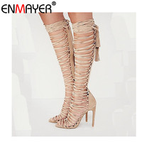 ENMAYDA Plus Size 34 43 New Sexy Knee High Gladiator Sandals High Heels Lace Up Suede
