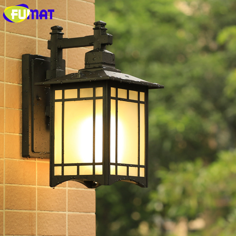 New Chinese Vintage Outdoor Waterproof Wall Lamp Balcony Corridor Aisle Wall Light Fixture Home Door Front Black Aluminum Sconce ...