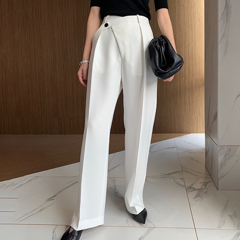 Image 3 - CHICEVER Summer Elegant Solid Women Pant High Waist Irregular  Button Fly Pockets Pleated Slim Regular Female Straight Pants 2020Pants