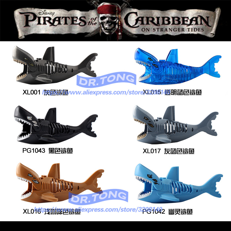 New Transparent Bule Black Brown Ghost Zombie Shark Pirates of the Caribbean Figure Building Blocks Bricks Children Toys XL015