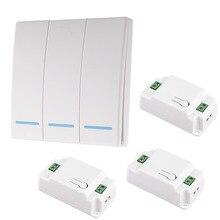 86 Тип 433 МГц Портативный беспроводной переключатель света RF дистанционное управление AC 110 В 220 в приемник умный переключатель настенная панель