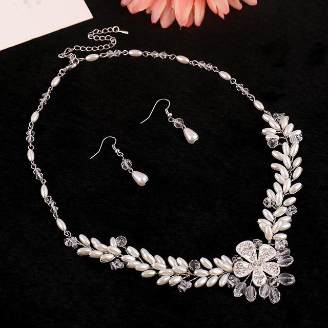 Joyería nupcial de corea rhinestone hecho a mano collares pendientes accesorios de boda al por mayor maxi collar de la joyería de la perla