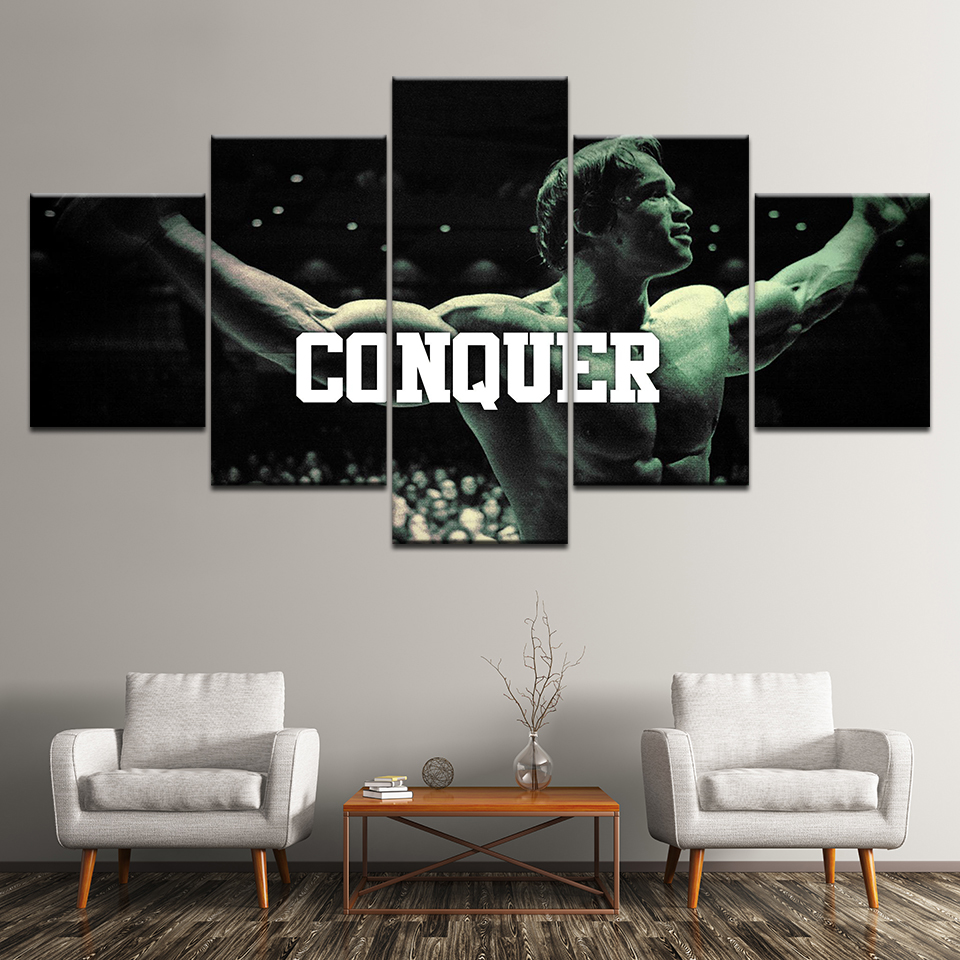 Conquer by Arnold Schwarzenegger 5 Piece Conquer by Arnold Motivation Artwork Canvas on Wall Art for Office and Home Wall Decor 5PCS Framed Epikkanvas Art 20x35cmx2,20x45cmx2,20x55cmx1