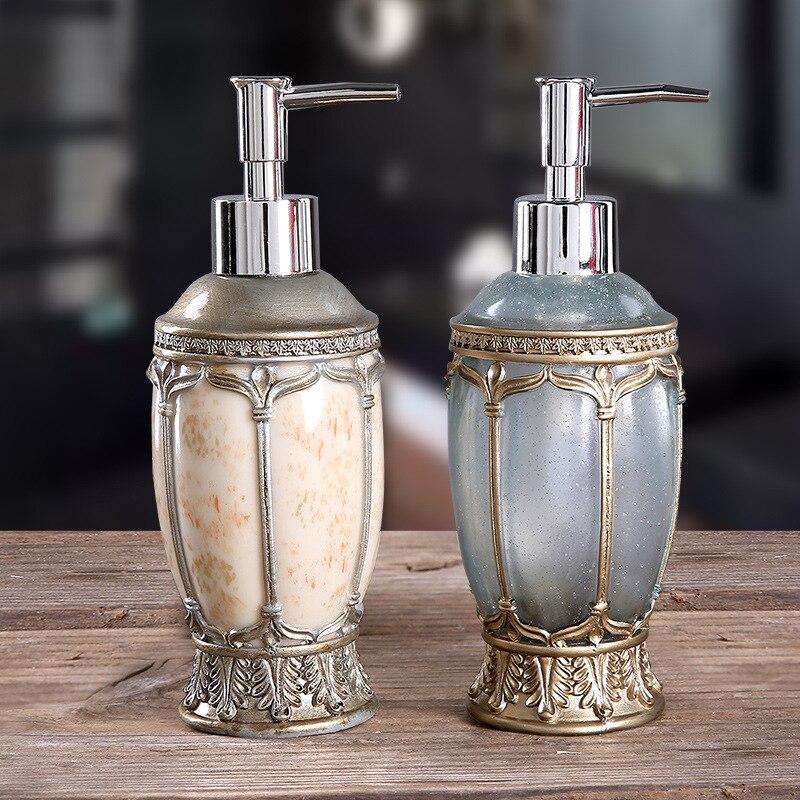 Europeu-estilo Esculpido Chuveiro Gel Dividido Vazio Garrafa Mão Desinfetante Shampoo Dispensador Resina Sabão Emulsão Pressionado Garrafas 280 ml