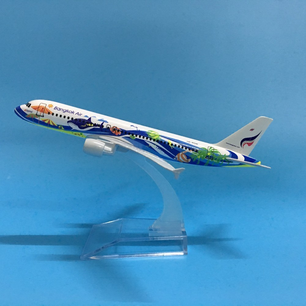 JASON TUTU Plane Model Airplane Model 16cm Thai Bangkok Air Airbus 320 Aircraft Model 1:400 Diecast Metal Airplanes Plane Toys