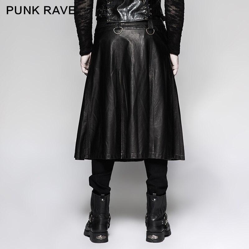 Negro Hombres Cuero Vintage Rave Punk Pantalones Metal Heavy Falda Cosplay Emo Rock Gótico Q325 Nuevo Los Steampunk De XPzqwx
