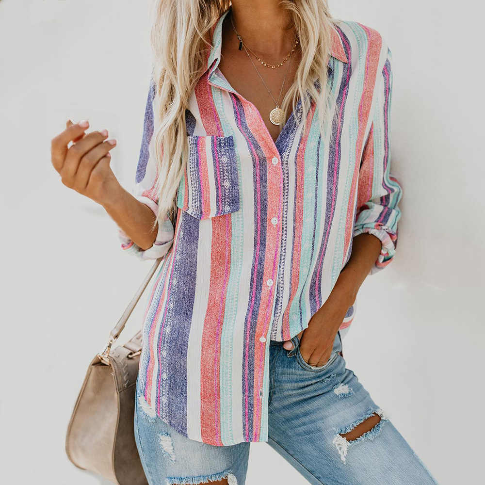 Fashion Color Stripes Large Women Blouse Ladies Autumn 2019 New European Shirts Female Womens Top and Blouses Female