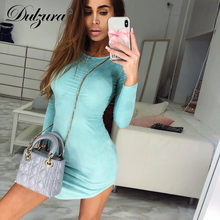 70abfc88dfe Dulzura wildleder lange hülse bodycon mini party kleid 2018 herbst winter frauen  sexy dünne grün rosa