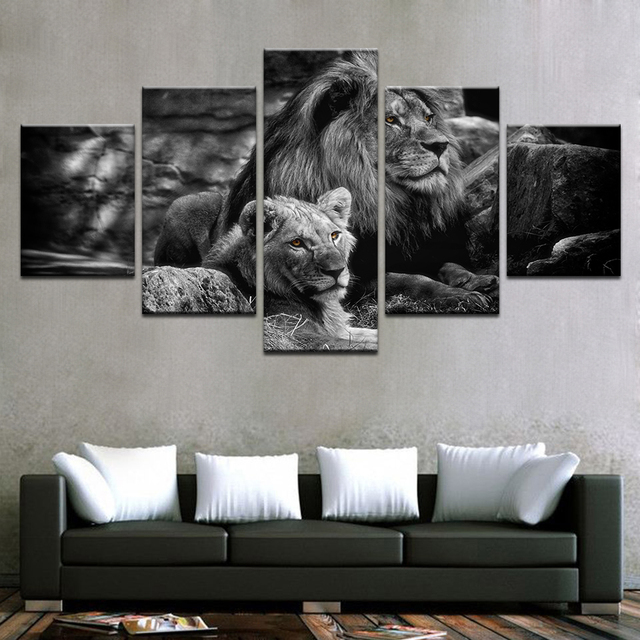Modular canvas wall art printed poster home decor frame 5 pieces black white animal pictures king
