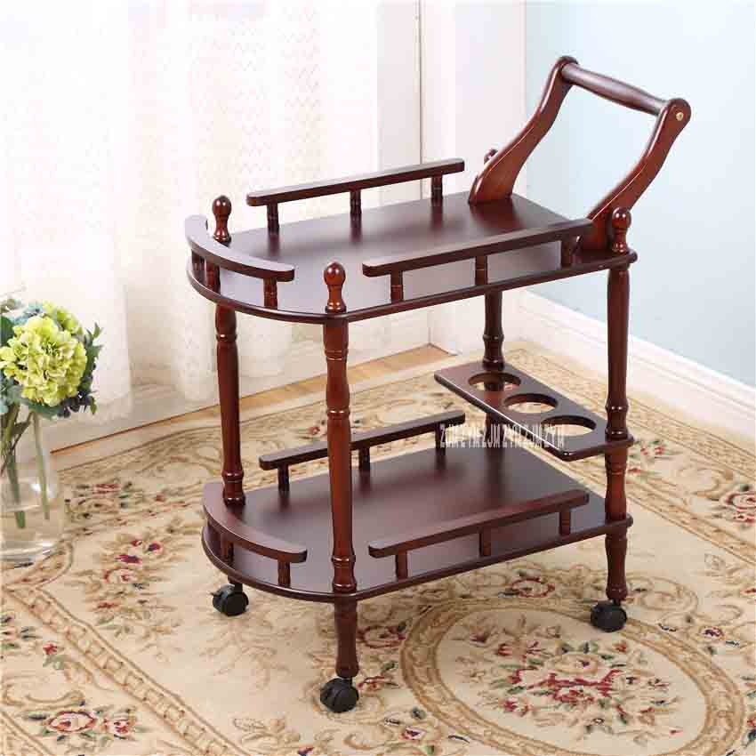 Hotel Trolley Solid Wood Coffee Tables Multipurpose Shelf Display Rack Household Double-layer Movable Tea Tables Dining Car