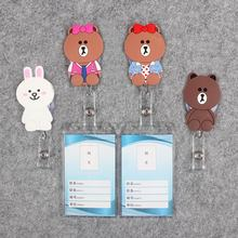 Little G Bear Badge Scroll Nurse Reel Vertical PVC Character Scalable Colors Exhibition ID Plastic Students Card Holder
