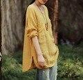 Nuevo 2016 Mujeres de Primavera de Manga Larga de Algodón Blusa De Lino Estilo Literario Verde Luz Blanca Breve a Medio-Largo flojo Camisetas más Tamaño