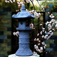 Япония Стиль Винтаж статуэтки и миниатюрные Украшения Сада Пейзаж Двор лампы подсвечник имитация Изделия из камня