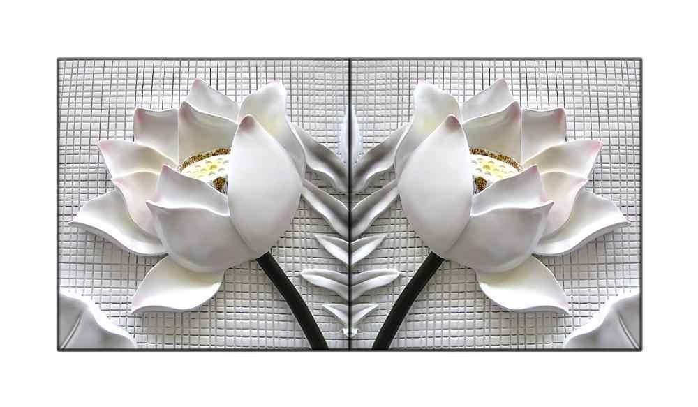2 قطعة المؤطرة الحديثة 3D الأبيض لوتس الزهور قماش الصور غرفة المعيشة الصور جدار وحدات اللوحة طباعة كوادروس مع الإطار