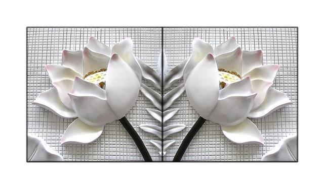 Gerahmte Bilder Wohnzimmer ~ Stück gerahmte moderne d white lotus blumen leinwand bilder