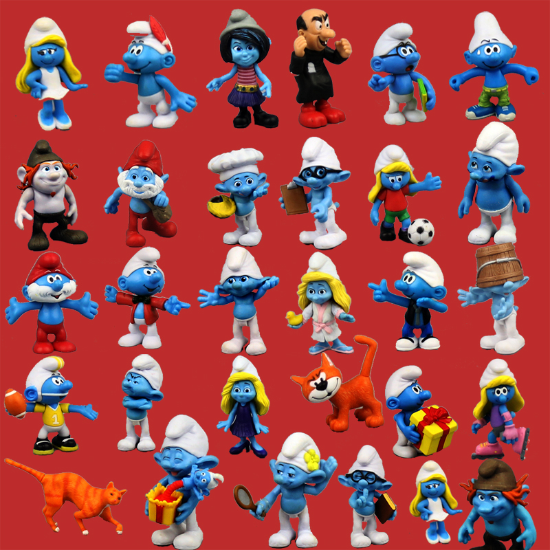 2017 the lost village Lovely The Smurfstoys Blue dad smurfette Action figure Blue elves toy doll statue 24 pcs set the elves papa smurfette clumsy figures elves papa action figure for children toys dolls blue color birthday gift