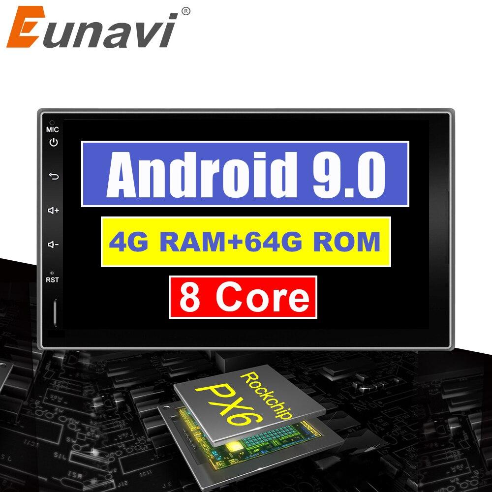 Eunavi car radio universal 2 din gps android 9.0 PX6 RK3399 6 cores car stereo WIFI BT
