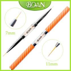 BQAN 10 pièces Double tête cristal poignée 7mm & 11mm dessin brosse Liner pinceau peinture stylo Gel vernis cristal Nail Art manucure outils
