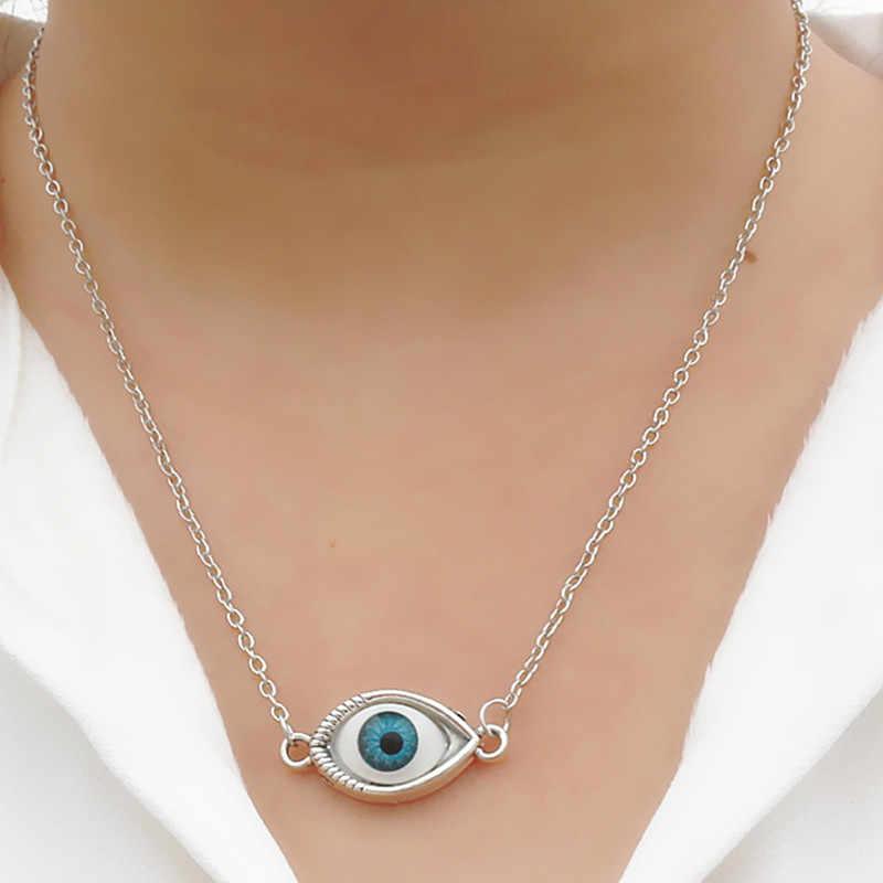 N2041 niebieski wisiorek oko proroka naszyjnik dla kobiet mężczyzn biżuteria Bijoux Collares Steampunk naszyjnik europejski i amerykański styl