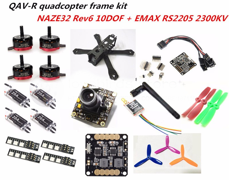 DIY FPV mini drone with camera QAV-R quadcopter 4x2x2 frame kit EMAX RS2205 + littlebee 20A ESC 2-4S + NAZE32 Rev6 10DOF +TS5828 rc plane qav zmr250 3k carbon fiber naze 6dof rve6 rs2205 favourite 20a emax