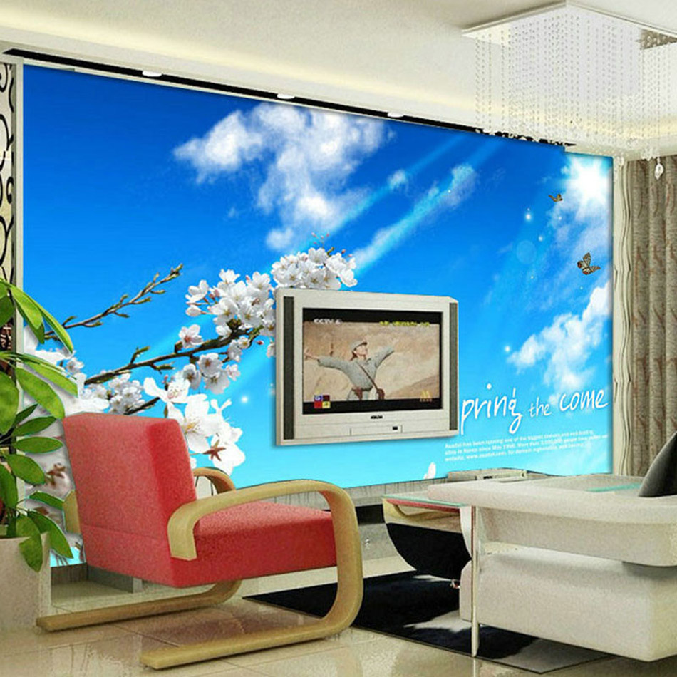 ShineHome-Butterfly Flower Sky Custom 3D Wall Murals Wallpapers Contact Paper Home Decor Living Room Bedroom Wallpaper-Roll-Size