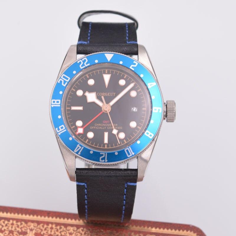 41mm Corgeut Men's Automatic Mechanical Watch Blue GMT Fashion Business Waterproof Calendar Watch цена и фото