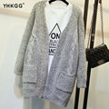 2016 YHKGG Autumn Korean Version Solid Color Pocket Loose Sweater Female Long Sweater Cardigan Sweater
