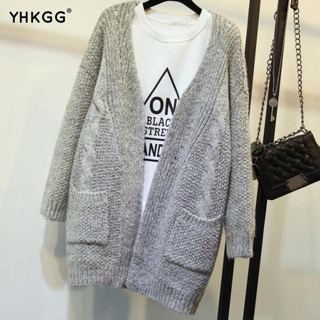 2016 YHKGG Outono Versão Coreana Cor Sólida Bolso Solto Camisola Longa Camisola Feminina Suéter