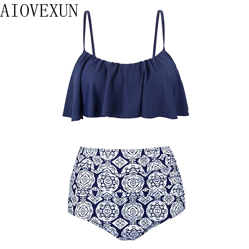 Bikinis Women 2018 Swimwear High Waist Swimsuit Halter Sexy Bikini Set Retro Bathing Suits Large Plus Size Swimwear XXL