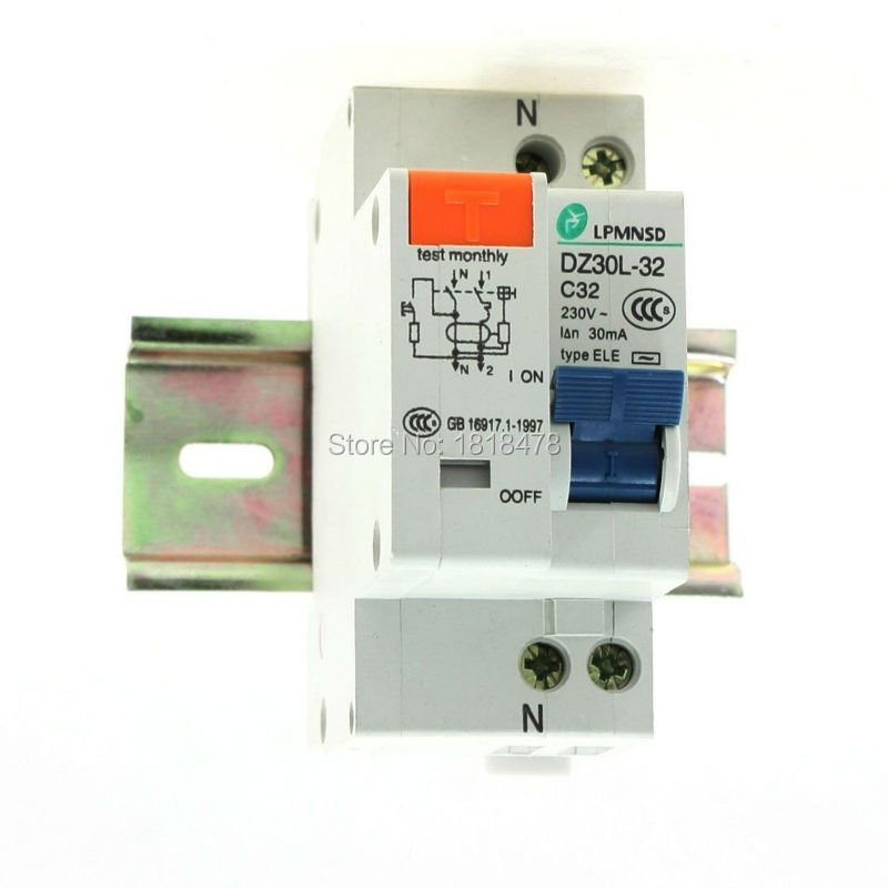цена на DZ30L-32 32A 1P+N AC 230V 32A 1 Poles 1P Overload Protection ELCB Earth Leakage Circuit Breaker