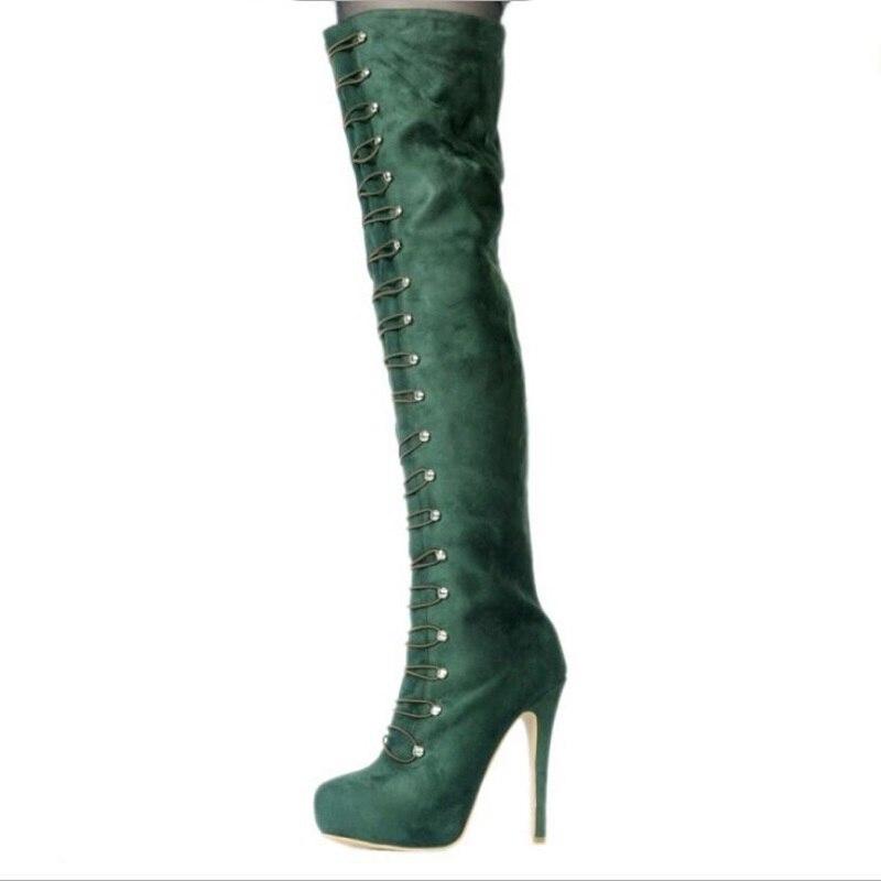 Женские ботинки из замши 2018 г. зимние женские выше колена загрузки резинка армия зеленый длинный пинетки тонкий высокий каблук 14 см размер