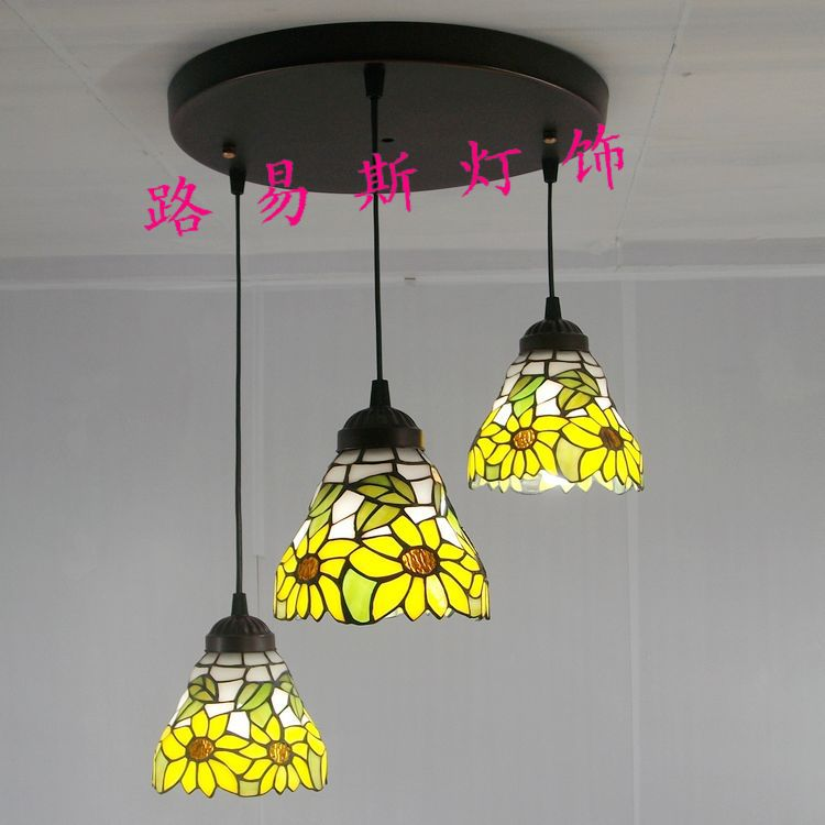 3 sunflower yellow glass chandelier Tiffany table lamps Continental balcony lighting dome clothing store