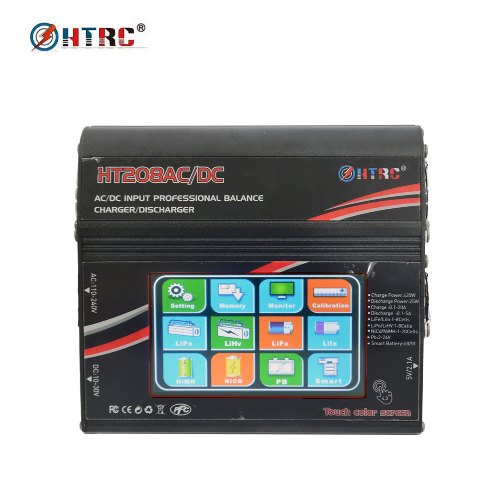 HTRC HT208 AC/DC 4.3Color LCD Touch Screen 420W 20A RC Battery Balance Charger/Discharger for 1-8s Lilon/LiPo/LiFe/LiHV Battery skyrc rc car drone b6 nano smart balance charger discharger app control for lipo lihv life lilon nicd nimh pb rc boat battery